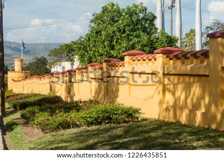 Wall of the former La Moncada baracks, important place of Cuban history, Santiago de Cuba