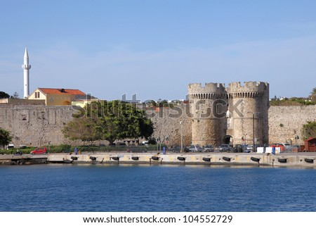 wall of the medieval fortress of Rhodes town, Greece