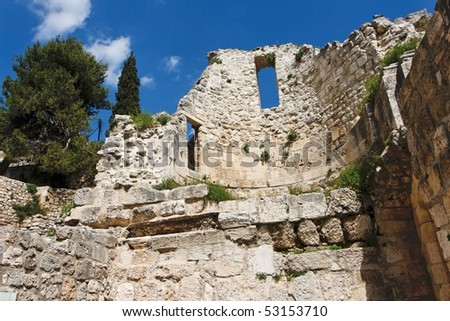 Wall of the ruins of Byzantine church near St. Anne Church and pool of Bethesda in Jerusalem