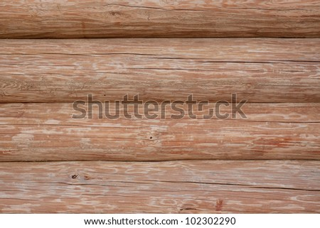 Wall of the rural house from logs
