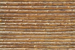 Wall of the rural house made from wooden logs. Seamless texture