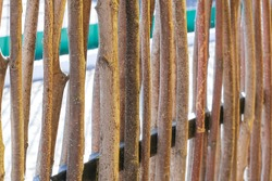 wall of willow twigs as background. Rural old fence, made from willow tree twigs and branches. High quality photo