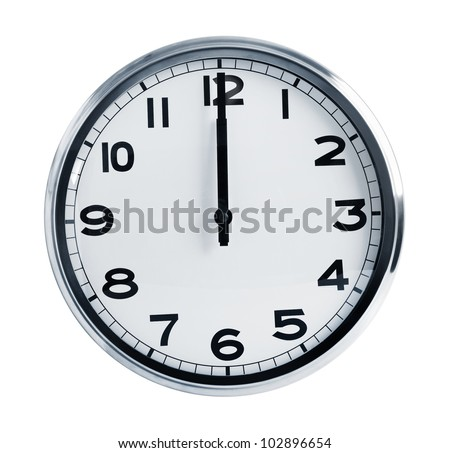 Wall office clock showing at noon on a white background