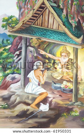 Wall paintings in the temple of Thailand.