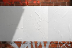 Wall Paper Poster Mockup Glued paper wrinkled effect isolated blank templates set
