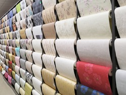 Wall-papers is in a shop. Great choice in row.