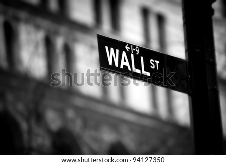 Wall Street sign in lower Manhattan New York
