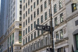 Wall street sign in Lower Manhattan,NYC
