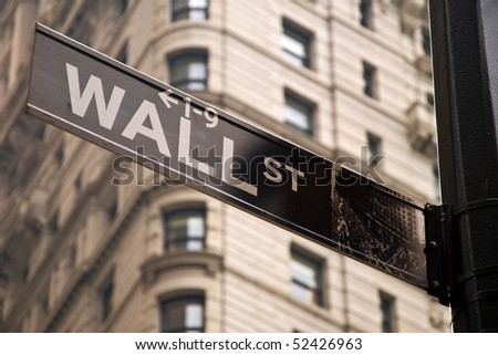 Wall street sign in New York city close-up view - stock photo