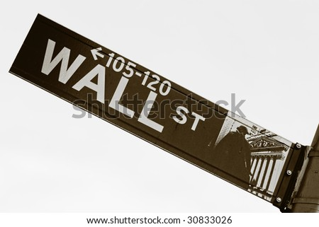 Wall Street sign in sepia tone