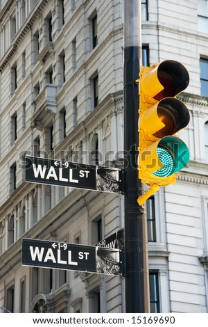 Wall Street signs and traffic lights - New York City, USA