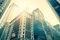 Wall Street Skyscrapers, Manhattan, New York City, USA - vintage style toned