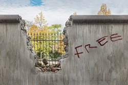 Wall that limits freedom Broken wall that symbolizes the way to be free.