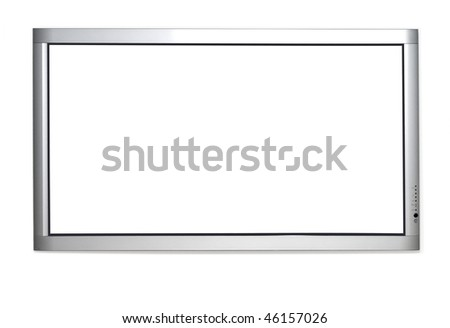 Wall version of plasma TV isolated over white background