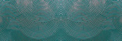 Wall with abstract circles. Metallic luster. Color - Blue Stone, Hue Green. The concept of a fantastic pattern for a backdrop.