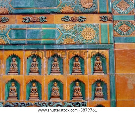 Wall with buddha figures in Summer Palace  Beijing - stock photo
