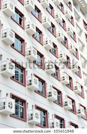 Wall with many air-conditioners, China.