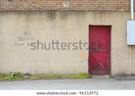 wall with red door background