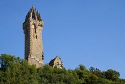 Wallace Monument, Stirling, Scotland situated atop Abbey Craig from where William Wallace led his people's army to victory at Stirling Bridge in 1297.