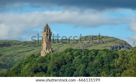 Wallace monument with Ochil hills in the distance #666131599