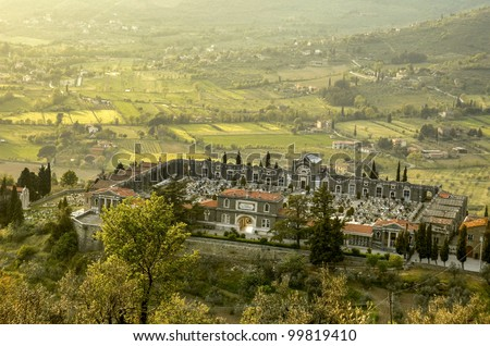 Walled cemetery in Cortona, a hill village in the Tuscany region of Italy.