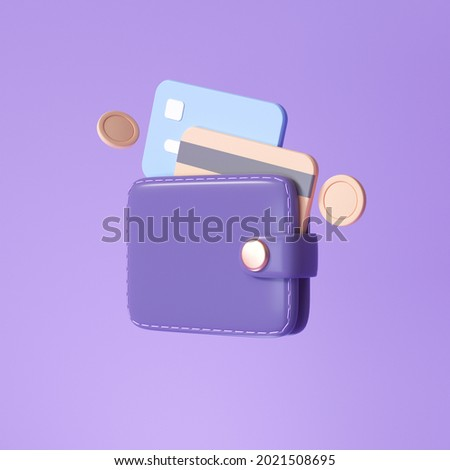 Wallet and Credit card, floating coins around on purple background. money-saving, cashless society concept. 3d render illustration