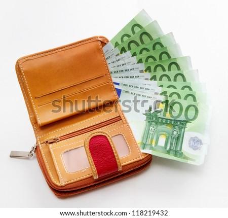 wallet full of euros - stock photo