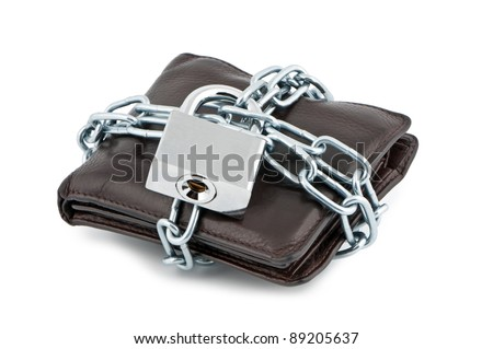 Wallet in chains closed padlock on white background.