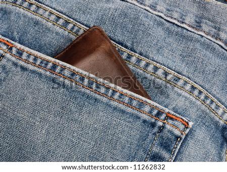 Wallet Jeans Pocket Wallet Peeking Out From Jeans