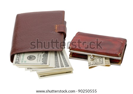 Wallet with a bunch of dollars and an old purse with a dollar. Isolated on white background