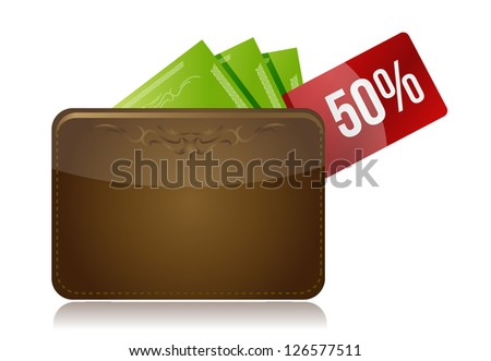 Wallet with a percentage discount label illustration design over a white background