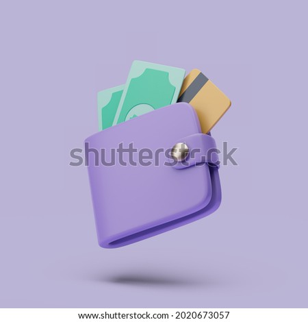 Wallet with cash and credit cart icon. 3d simple render illustration on pastel background. Сток-фото ©