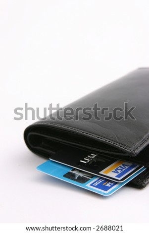 wallet with credit cards - stock photo
