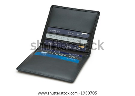 Wallet with credit cards isolated on white