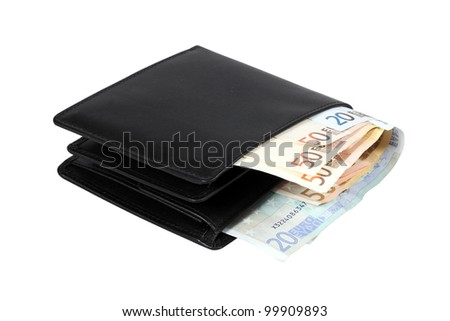 Wallet with euro banknotes isolated over white with clipping path.