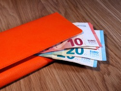Wallet with euro money. Finance and credit. Economic forecasts.
