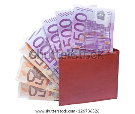 wallet with euro notes isolated on white background