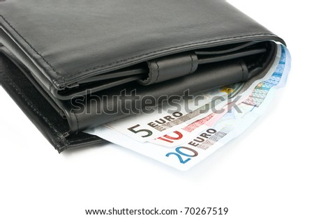Wallet with euro over white