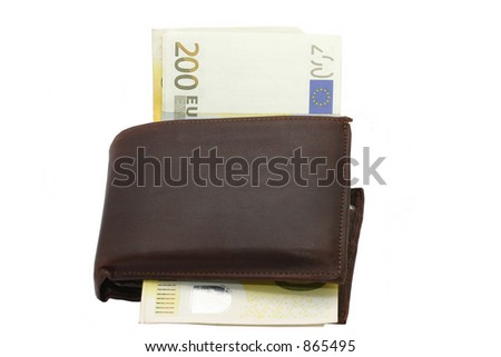 Wallet with 200 Euroes bills