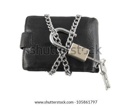 Wallet with keys, chain and padlock isolated on white background