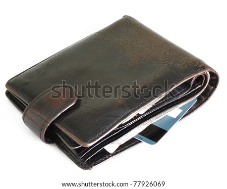 Wallet with money and bank card isolated on white background - stock photo