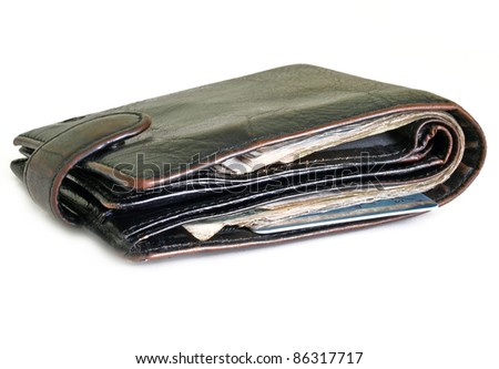 Wallet with money and bank card isolated on white background