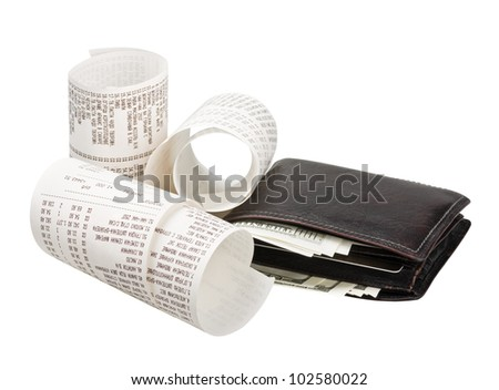 wallet with money and checks from the store