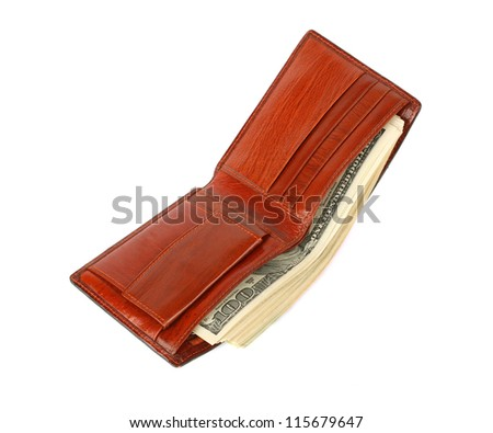 Wallet with money on white background