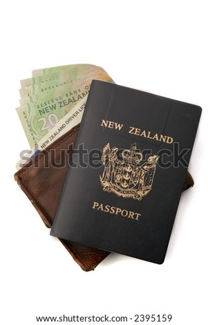 Wallet, with New Zealand Money, and drivers license showing, passport on top.