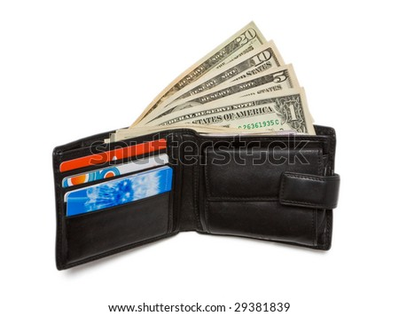 Wallet with one, five, ten and twenty dollar bank notes