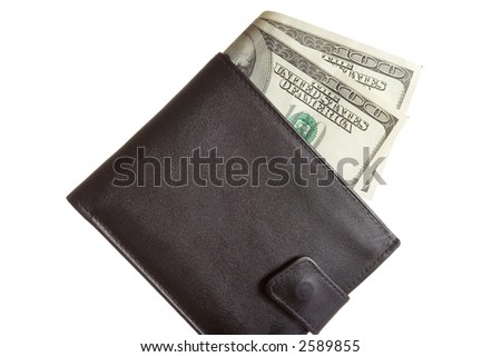 Wallet with US dollars against white background