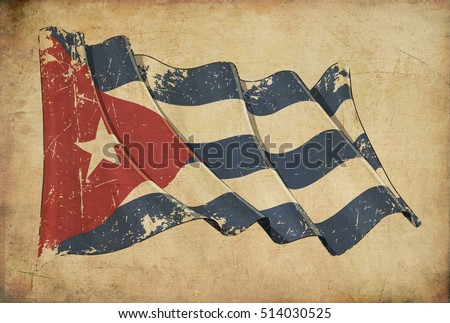 Shutterstock Wallpaper depicting an aged paper, textured background with a scratched illustration of the Cuban flag