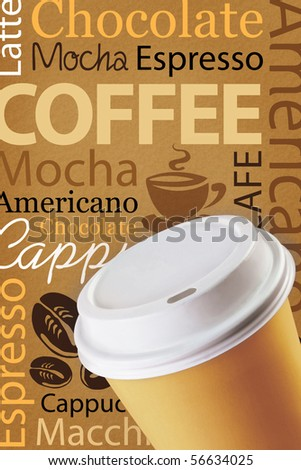 Wallpaper for decorate coffee or coffee shop. Words and pictures on a brown background