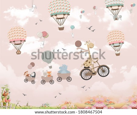 Wallpaper for kids, animals on baloon Foto stock ©